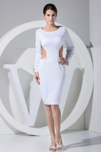 Fashion White Scoop Long Sleeves Prom Dress with the Back out