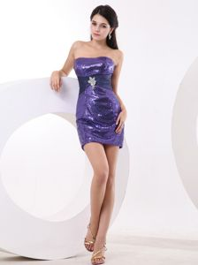 Latest Purple Sequined Strapless Prom Dress with Beading Accent
