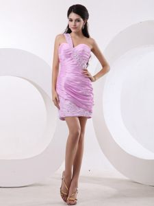Single Shoulder Beaded Ruched Pink Prom Attire in Penarth South