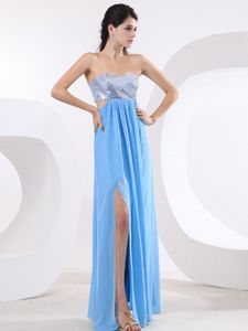 High Slit Sequined Bodice Prom Dress for Ladies with Cutout Waist