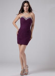 New Style Ruched Beading Sweetheart Prom Outfits in Dark Purple