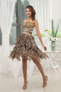 Leopard Printed Asymmetrical One Shoulder Prom Dress with Bead