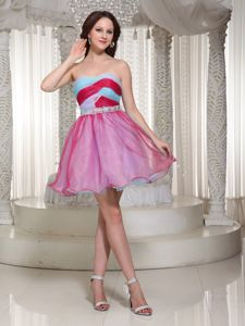 New Mini-length Organza Strapless Prom Attire with Ruched Bodice