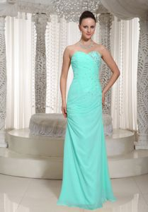 Pretty Apple Green Chiffon Floor-length Prom Outfits with Beading