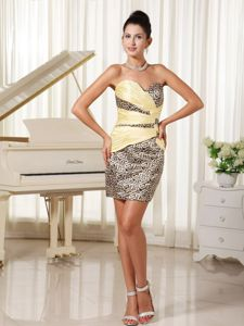 Mini-length Sweetheart Leopard Prom Dresses for Girls with Ruches