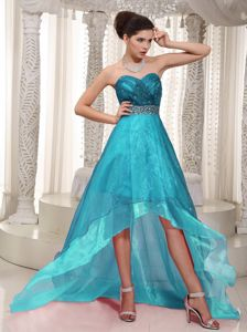 Best Organza High-low Sweetheart Prom Outfits with Beaded Waist