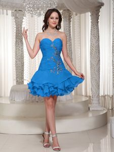 Luxurious Ruffled and Ruched Prom Dresses with Appliques 2014
