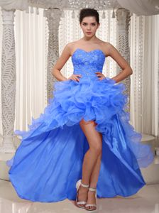New High-low Sweetheart Prom Attire with Ruffled Layers and Beads