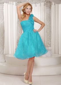 Stylish Organza One Shoulder Prom Gowns with Raw-edge Rosettes