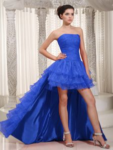 Fashion Organza High-low Strapless Prom Gown Dress with Layers