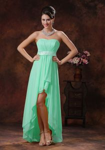 Custom Made Apple Green Chiffon High-low Prom Gown with Sash