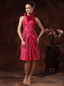 Latest Hot Pink Halter Taffeta Beading Prom Attire in Earlston Borders