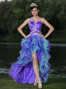 Two-toned High-low Ruffled Layers Prom Gown Dress with Beading