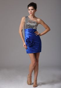 One Shoulder Sequin Taffeta Mini Blue Prom Dress with Paillette and Flowers