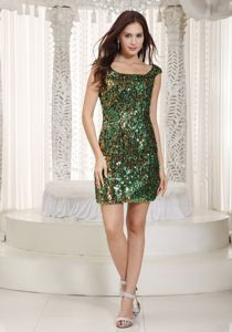 Shimmery Sequin Scoop Neck Mini Dresses for Prom in Multi-color