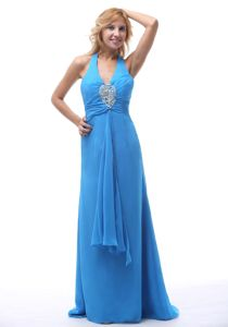 Simple Halter Top Lace-up Sky Blue Long Prom Attire for Cheap Price