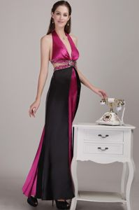 Cool Back Halter Top Fuchsia and Black Long Prom Dress with Beading