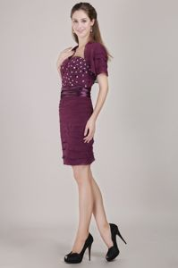 Mature Sweetheart Burgundy Short Prom Dress with Beading on Sale