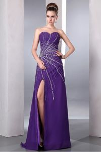 Column Sweetheart Purple Slitted Beaded Prom Gown Dress in Lexington USA