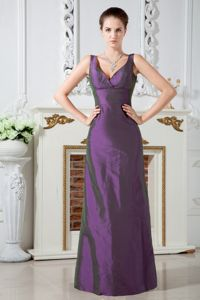 Simple Lace-up V-neck Purple Long Prom Gown in Kill Devil Hills NC