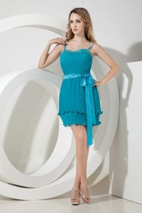 Spaghetti Straps Pleated Teal Mini Junior Prom Dresses with Sash 2014