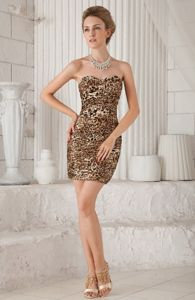Fashionable Leopard Print Mini Fitted Brown Dress for Prom in Laurinburg NC
