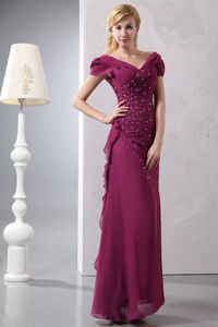 Beaded Burgundy Long Prom Outfits with Cap Sleeves Hug Shoulder Neck