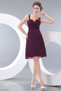 Simple Straps Chiffon Burgundy Short Informal Prom Dress under 100
