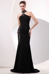 High-Neck Beaded Black Long Prom Dress with Special Design Back