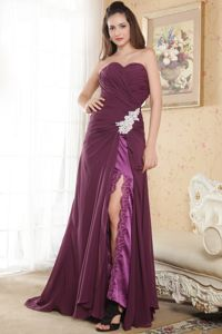 Slitted Appliqued Dark Purple Long Chiffon Prom Dress Fast Shipping