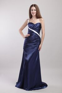 Brush Train Navy Blue One Shoulder Ruched Prom Dress for Wholesale