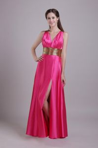 Hot Pink V-neck Prom Gown Dress with Slit and Crisscross Back North Carolina NC
