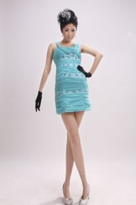 Clearance Ruched Fitted Baby Blue Mini Dress for Prom with Beading
