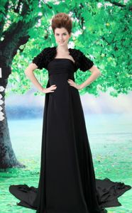 Discount Chiffon Strapless Long Black Formal Prom Attire in Fashion