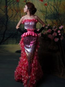 Special Design Strapless Ruffled Hot Pink Long Prom Outfits with Paillette