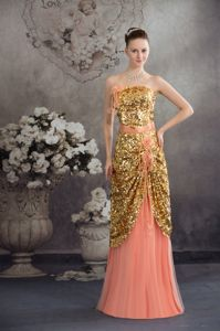 Gold and Peach Column Strapless Long Prom Dress with Paillette Wholesale