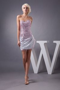 Charming Sweetheart Silver Mini Sequin Prom Dress with Pink Rhinestones