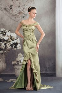 Cheap Off The Shoulder High-low Olive Green Prom Dress for Wholesale