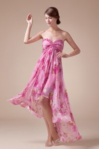 Hot Sale High-low Floral Printing Chiffon Prom Dress in North Carolina