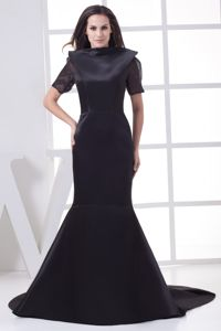 Modernist Short Sleeves Backless Black Mermaid Prom Dress for 2014 Party