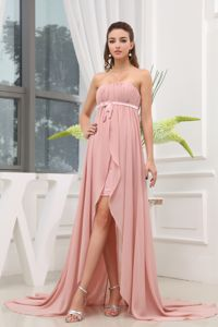 Wholesale Chiffon Strapless High-low Prom Attire in Peach about 150
