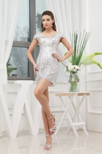 Glitz Hug Shoulder Neckline Cap Sleeves Silver Prom Dress Mini-length Sequin