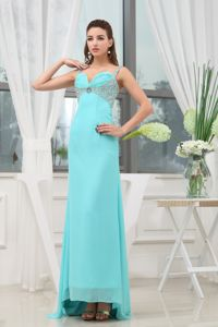 Ruched Straps Long Formal Prom Dresses with Beading in Armidale NSW