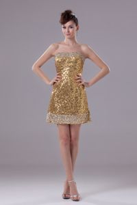 Gold Strapless Short Sequined Informal Prom Dresses in Campbelltown