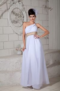 One Shoulder Ruched White Cute Prom Dress with Brush Train in Grafton
