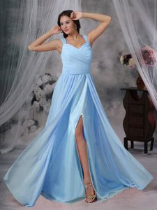 Straps Baby Blue Chiffon Pleated Prom Dresses with Brush Train in Sydney