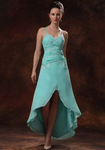 High-low Appliqued Ruched Prom Dresses with Spaghetti Straps in Grafton