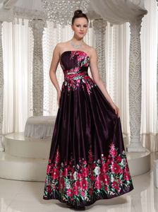 Strapless Ankle Length Formal Prom Dresses with Printing in Herndon