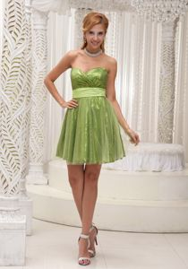 Sequined Tulle Sweetheart Informal Prom Dress with Sash in Chantilly