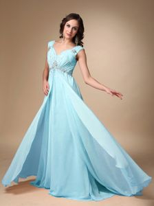 Straps Chiffon Beaded Prom Outfits in Baby Blue with Court Train in Kent